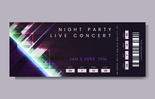 Night party live concert ticket vector